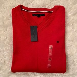TOMMY HILFIGER Signature Red V-Neck Sweater Sz XXL